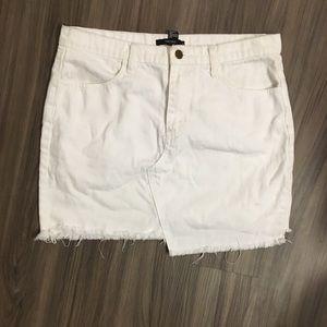 White Asymmetrical Jean Skirt